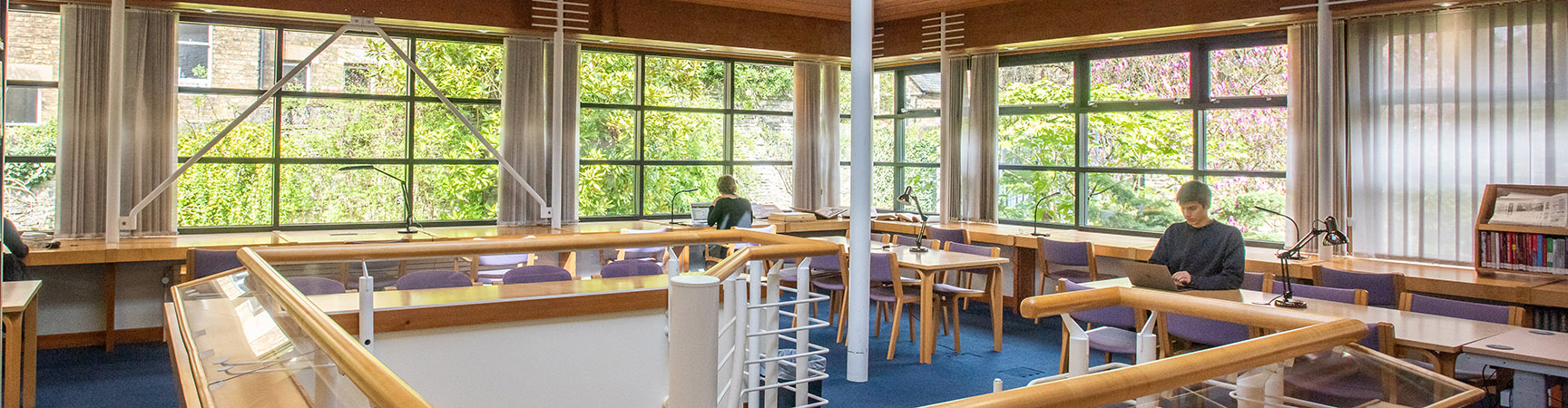 The large windows in the reading room at the Japanese Library