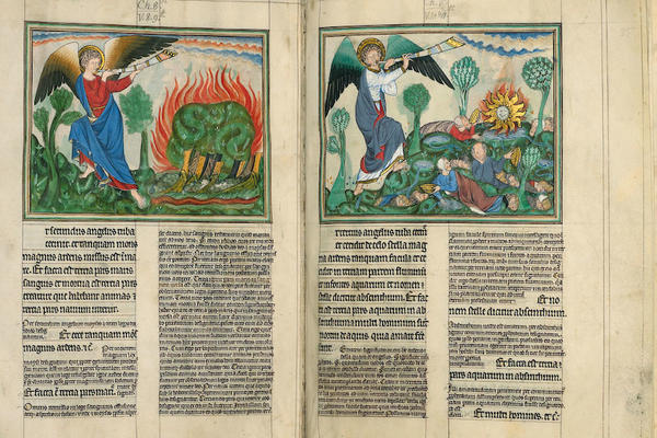 An illuminated manuscript depicting apocalyptic imagery of angels above ruled columns of text