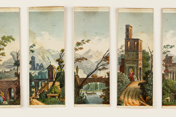 Fragments of a composite image showing a painted scene of landscape and buildings