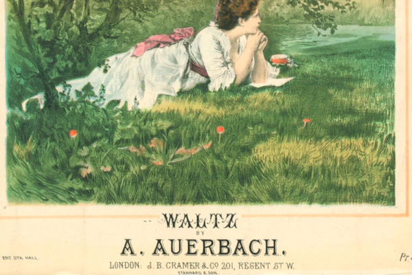 A drawing of a woman in a dress lying on the grass with her hands propping up her chin