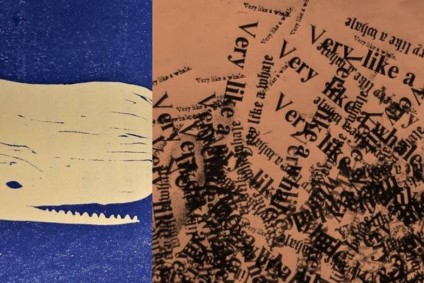 One third of the image is a printed whale on a blue background, with the rest depicting a collage of printed versions of 'Very like a whale'