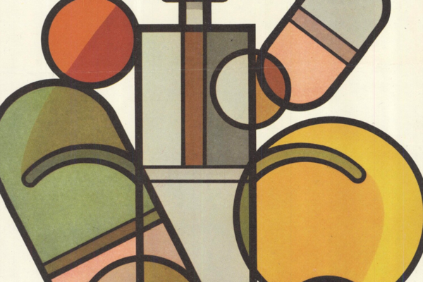 An image of syringe, capsules and tablets, composed of geometric shapes.