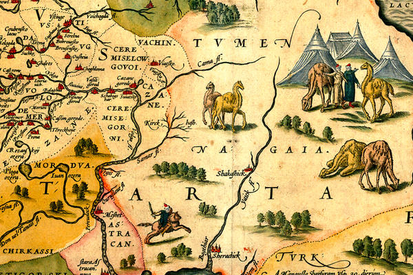 A section of an illustrated map in sandy colours