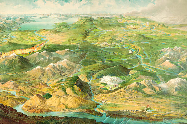 A colourful map of Yellowstone National Park