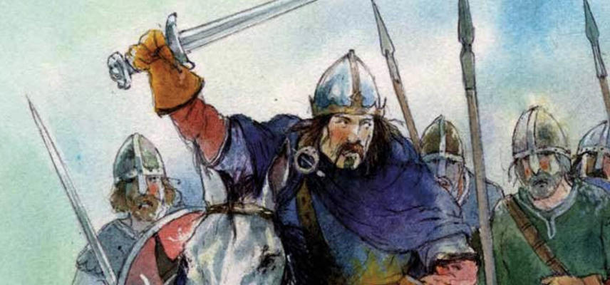 An illustration of a group of men on horseback wielding swords above their heads